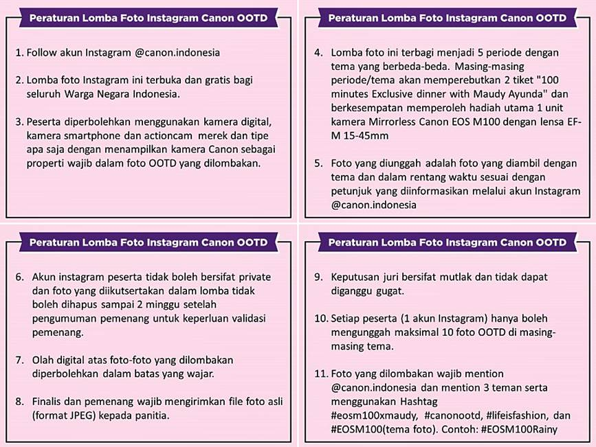 Canon EOS M100 OOTD Competition Rules 1