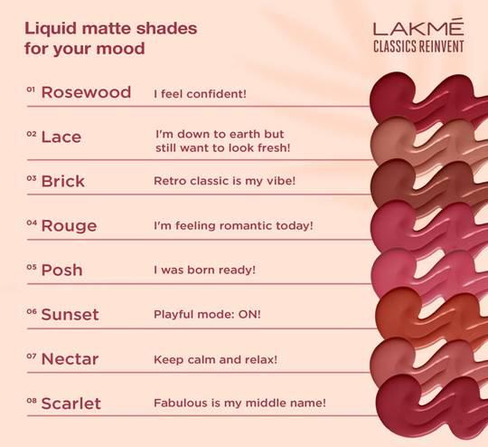 Shades Lakme Liquid Matte